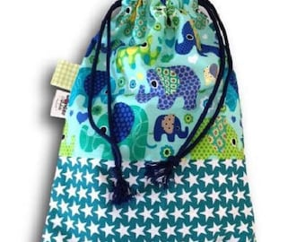 bag taste elephants and green and Blue Star print cotton DrawString