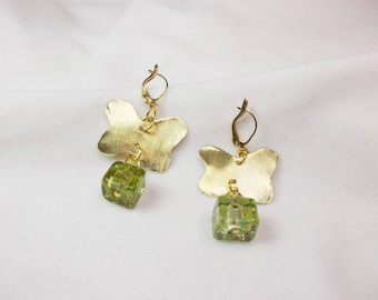 Handmade earrings with bronze butterflies and glass square beads