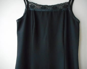 90's Black Midi Dress with Lace Detail