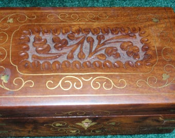 Vintage Wood with Brass Inlaid Design
