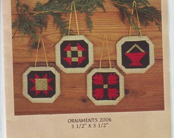 UNCUT Pieced Quilted Ornaments Pattern by MH Designs, 2006