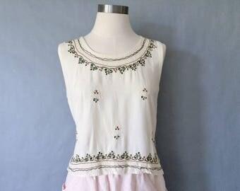 vintage minimalist embroidered sleeveless blouse/shirt/tank top women's size S/M