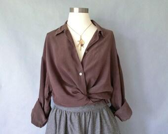Vintage silk blouse/ button down blouse/ minimalist silk shirt/ silk top women's size L/XL