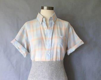 vintage blouse/ vintage plaid blouse/ button down shirt/ pastel top women's size M/L