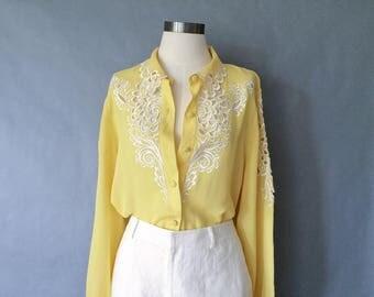 vintage silk blouse/ minimalist silk top/ silk shirt/ 80s silk top / embroidered shirt/ floral blouse/ yellow women's size S/M