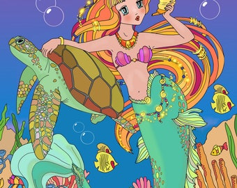 DIGITAL Coloring Book Mermaids for kids
