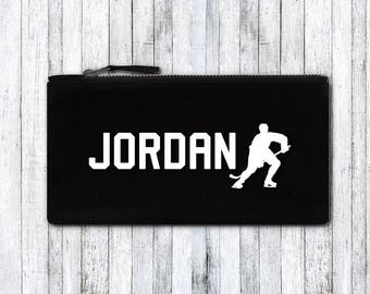 Custom Pencil Case - Personalized Pencil Case - Personalized School Supplies - name on pencil case - Back to school - hockey fan