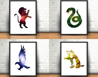 Harry Potter Inspired Art Prints Set Of 4 Houses. Gryffindor, Slytherin, Ravenclaw, Hufflepuff, Galaxy Space Nebula Filled Prints, Hogwarts