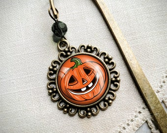 Retro Jack o Lantern halloween bookmark with dangling glass cabochon accent