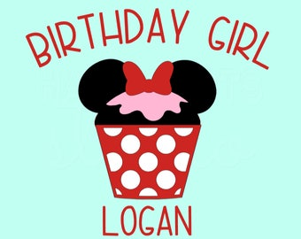 Personalized Birthday Girl Cupcake / Minnie Mouse Ears Bow with Name and Birthday Party Hat Disney Iron On Decal Vinyl for Shirt 289