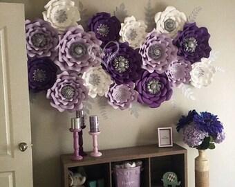 17 piece paper flower set / paper flowers / decor / baby shower / nursery / nursery decor / nursery paper flowers