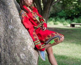 African Shirt Dress - Omar Shirt Dress - Longline Unisex Shirt - Ankara Dress - Oversized Shirt - Summer Dress - festival fashion