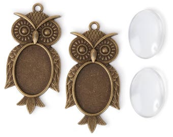 Owl Frame Pendants w/ glass covers and adhesive dots (STEAM341)