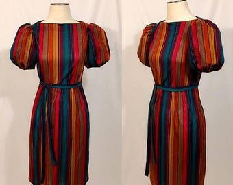 Back to School Sale Vintage Sheath Dress, 70s Midi Dress, Striped Cotton Dress