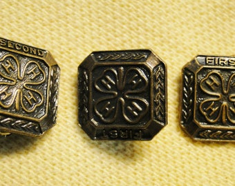 3 Vintage 4H Pins - 2 Marked First & 1 Marked Second - Nice Pins!