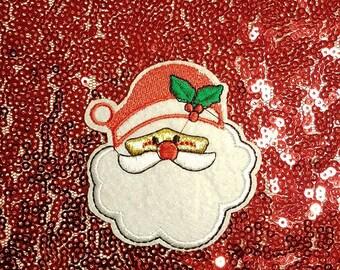 Christmas Santa Claus Patch- Christmas SnowMan Applique- Christmas Embroidery- Iron On Applique -Embroidery Patch - Sew on Patch - Santa Hat
