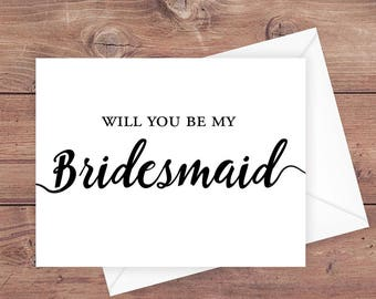 Will you be my bridesmaid card - be my bridesmaid wedding card - Instant Download Greeting Card - PRINTABLE