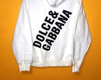 Vintage 90's Dolce and Gabbana Italy Sweatshirt Hooded Medium Size