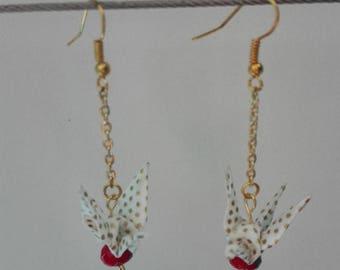 Crane origami Japanese paper and Red bead earrings