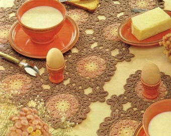 35. 'Good morning' placemat, vintage crochet pattern in pdf