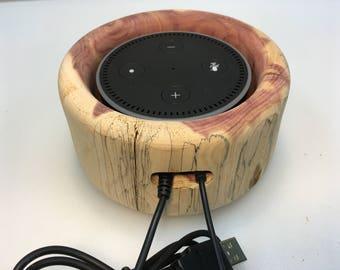 "Hand turned aromatic cedar Amazon ""Dot 2nd generation"" holder"