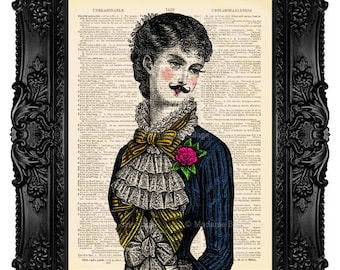 Victorian Lady with Moustache - ORIGINAL ARTWORK - Dictionary Art Print Vintage Upcycled Antique Book Page no.88
