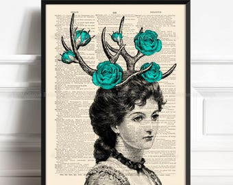 Woman With Antlers, Rose Deer, Gift for Him to 30, Rose Antler Flowers, Grandma Xmas Gift, 9th Year Anniversary, Gift For Mom, Geek Lady 073