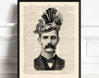 Moustache Poster, Sister Gift, Tattoo Painting, Gothic Art Poster, Funny Wall Print, Geekery Print, Cool Victorian Print, Wall Art Print 050