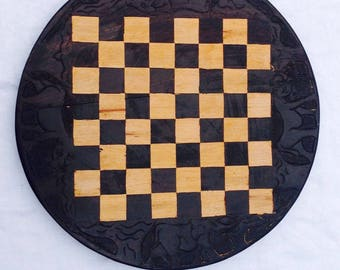Chess board carved wood African