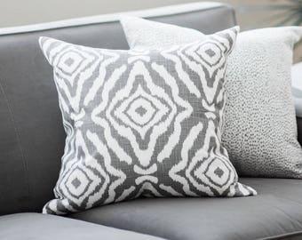 "Double sided Scalamandre Zanzibar Smoke 20 "" x 20"" decorative pillow cover, Ikat pillow cover, designer pillow, cushion, accent pillow"