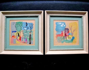 Two Framed Mid-Century Charles Cobelle Lithographic Prints New York Plaza & Central Park