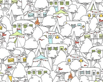 Ink & Arrow Camp S'More, Packed Campers in White,  Camping Quilt, Modern Quilt, Modern Fabric, Fun Fabric