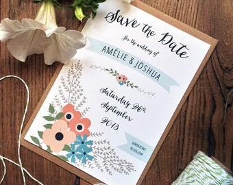 Simple Floral Save the Date | Printable Save the Date | Papeterie de Mariage | Country Wedding | Summer Wedding | PDF Save the Date