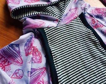 Hoddie, evolutionary sweater, grow with me hoodie, UFO, aliens, weird geometric, hemp, organic cotton 9-36 months