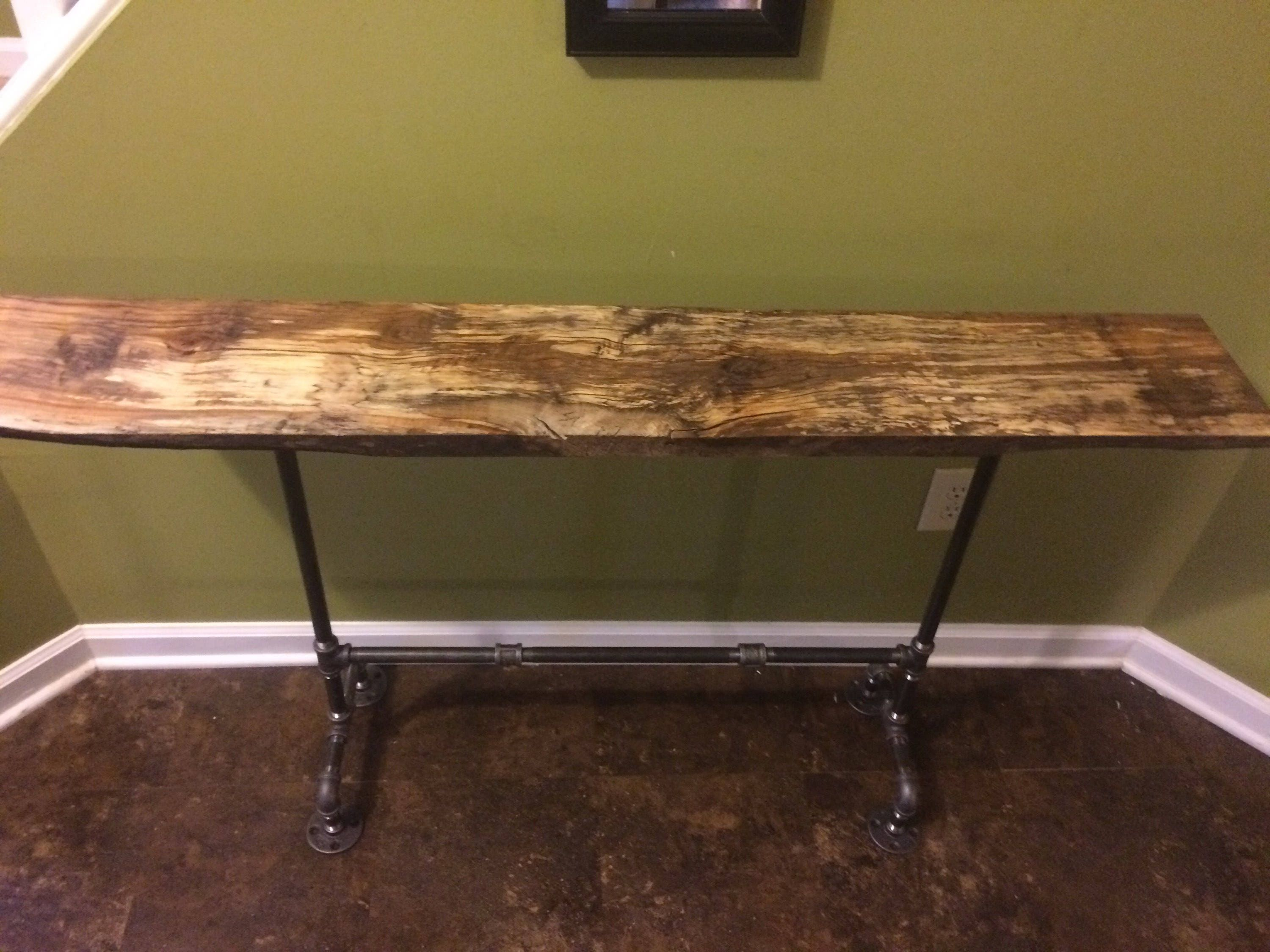 Barnwood Black Pipe Entryway Table Rustic Barnwood Table
