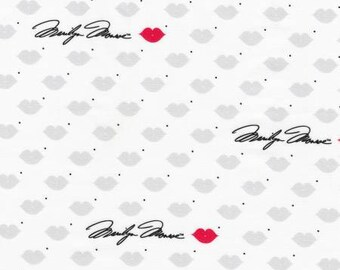 Lipstick Lips & Marilyn Monroe Signature from Robert Kaufman Digital Print quilting cotton fabric material by the yard or metre AYO17199121