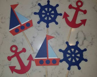 12 nautical themed cupcake toppers