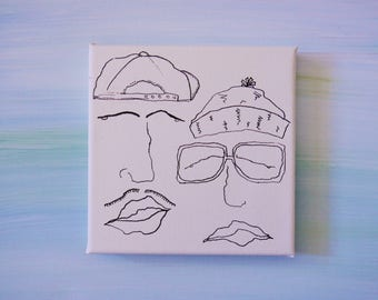 Hipsters With Moustache, Hats and Granny Glasses In Ink On Mini Canvas