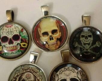 5 mixed skull pendants ... 2 assortments .. glass cabochon pendants  destash  clearance #p29
