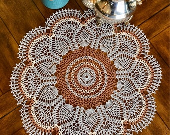 Gray Floral Doily - Crochet Lace Doily - Coffee Table Doily - Pineapple Crochet Doily - Rustic Decor - Table Decor - Housewarming Gift