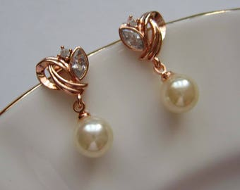 Beautiful Rose Gold Pearl and Cubic Zirconia Earrings