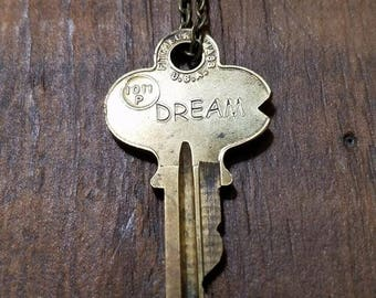 Dream Key Necklace, Vintage, Handstamped, Ready to Ship, Encouragement Gift, Key Jewelry, Friend Gift, Graduation