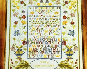 Jane Greenoff Fanciful Alphabet Sampler Cross Stitch Kit Floral ABC Cashel Linen