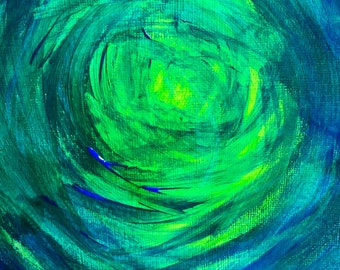 """Original artwork in mount and ready to frame, Blue & Green, mixed media acrylic painting, office decor, mount size 9x7"""", men's gift"""