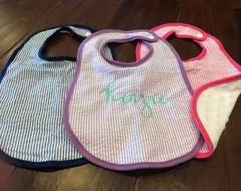 Ruffle Baby Bib with Embroidered Name or Monogram