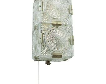 Midcentury Pressed Glass Sconce, Wall Light