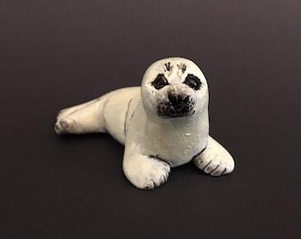 Baby Harp Seal Totem Wildlife Figurine Handmade Sculpture