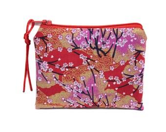 Japanese fabric - cherry red purse