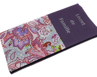 family booklet protector in purple floral fabric