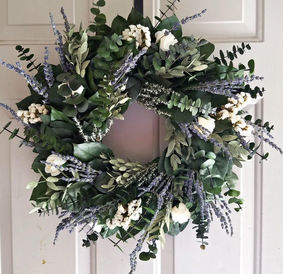 Lavender wreath, preserved wreath, custom wreath, salal wreath, indoor wreath, fragrant wreath, purple wreath, small wreath